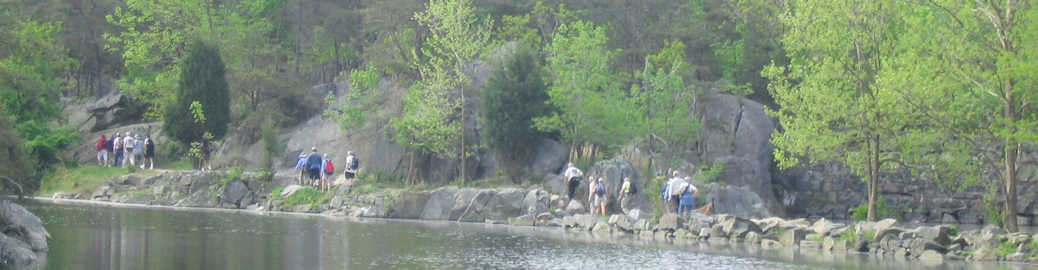 Hikers along canal