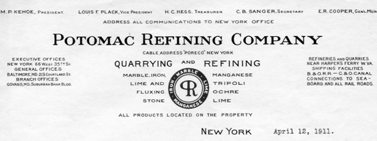 Potomac Refining Company letterhead