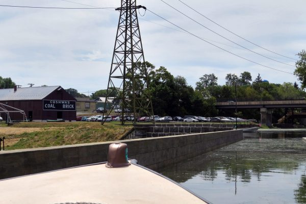 Bow of boat crossing aqueduct